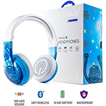 Wireless Bluetooth Headphones for Kids - BuddyPhones WAVE | Kids Safe Volume Limited to 75, 85 or 94 dB | Foldable & Waterproof | 24-Hour Battery Life | Optional Cable for Audio Sharing | Blue