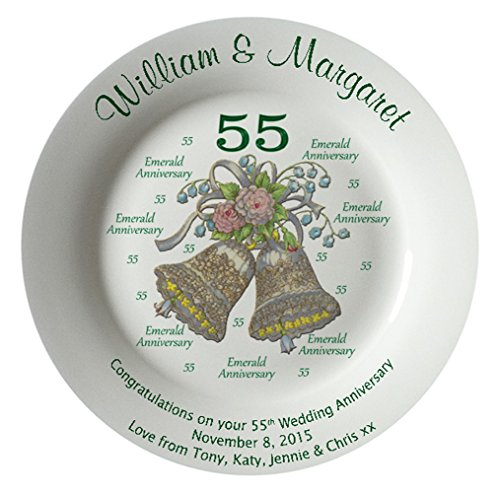 Heritage Pottery Personalized Bone China Commemorative Plate for A 55th Wedding Anniversary - Wedding Bells Design