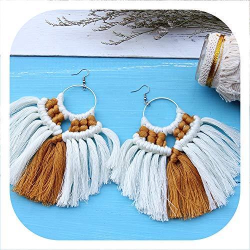 Memoirs- Macrame Tapestry Bohemian Tassel Earrings Round Drop Earrings for Women Wedding Long Fringed Earrings Decoration,White