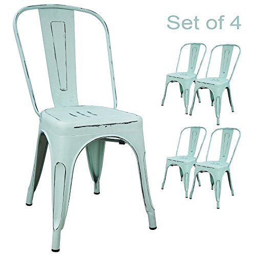 Devoko Metal Indoor-Outdoor Chairs Distressed Style Kitchen Dining Chair Stackable Side Chairs with Back Set of 4 (Dream Blue) (Metal Desk Chair)