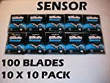 Gillette Sensor - 100 Blades (10 x 10 or 20 x 5 Packs)