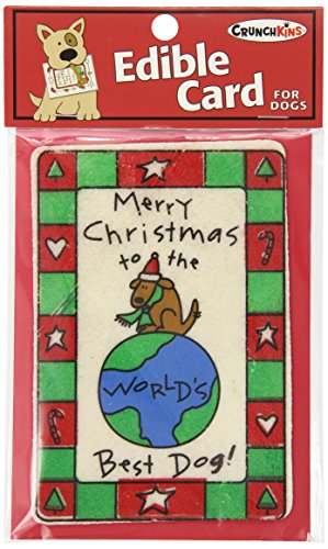 Crunchkins Crunch Edible Card, Marry Christmas Best Dog in the World Best Dog Christmas Cards