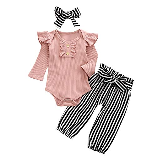 baby girl clothes ribbed onesies newborn babies 0-3 months 3-6 months 0-6 month pink ruffle long sleeve tops pants black striped