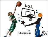 Kappier Giant Jumping Basketball Superstar - I Am a Champion Peel & Stick Wall Decals
