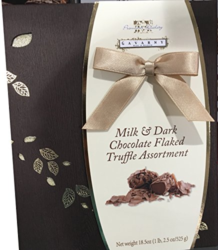 Gavarny Christmas Gift Box, Milk & Dark Chocolate Flaked Truffle Assortment - 18.5 oz