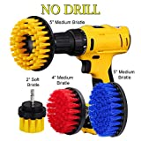 HIFROM 2'' 4'' 5'' Soft Medium Power Scrubbing Brush Drill Attachment Set for Cleaning Showers Tubs Bathrooms Tile Grout Carpet Tires Boats Upholstery (Pack of 4)
