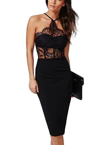 K Bar Ajustado Vestido Para Mujer Negro Vestido De Coctel Encaje Noche Vestidos X-small