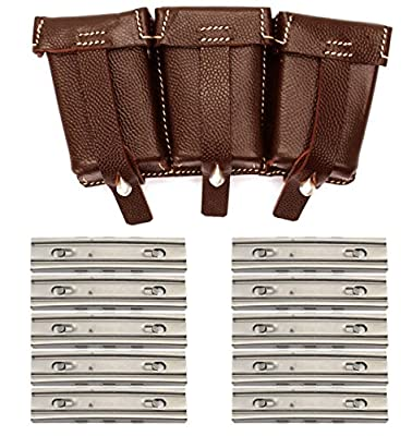10 Pack 8mm 5 Round Nickel Plated Stripper Clips Mag Loader Mauser Karabiner K98 Yugo M48 M24 Rifle + K98 WWII Reproduction German Brown Leather Ammo Rounds Pouch D-Ring Y-Straps Belt Clip