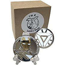 Marvel Avengers Ironman Superhero Silver Plated Collectible Challenge Coin plus free sticker by Lucky Donk, Poker Card Guard, Golf Ball Marker, paperweight