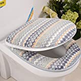 Wayer Toilet cushion,Luxury toilet seat cover 2 Pack set (Lid cover & Tank cover) Bathroom zipper super warm soft comfy -A