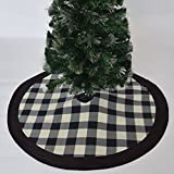 Gireshome 50'' Buffalo Check Plaid Christmas Tree Skirt with black suede border XMAS Tree Decoration Merry Christmas Supplies Christmas Decoration