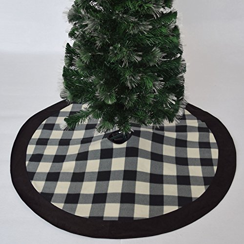Gireshome 50'' Buffalo Check Plaid Christmas Tree Skirt with black suede border XMAS Tree Decoration Merry Christmas Supplies Christmas Decoration by GiresHome