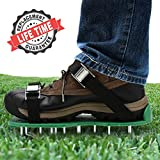 Yard Basics Aerator Shoes - Effective Heavy Duty Comfortable Lawn Aerator Shoes for a Greener Lawn, 4 Metal Buckles with Strong Adjustable Straps. A One Size Fits All Lawn and Grass Aerator.
