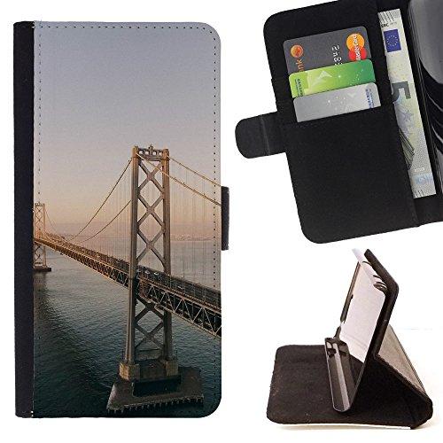 God Garden - FOR Apple Iphone 5C - Bay Bridge - Glitter Teal Purple Sparkling Watercolor Personalized Design Custom Style PU Leather Case Wallet Fli