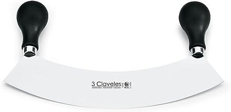 3Claveles 1210 - Cuchillo media luna, dos mangos, 22 cm