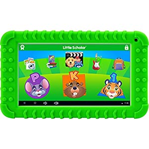 """School Zone Little Scholar Best Kids 7"""" Tablet, Ages 3-7, PreK-1st Grade, +Bumper, Android, Quad-Core, 16 GB, Wi-Fi, Front & Rear Camera, Green (08611)"""