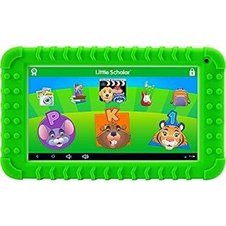 "School Zone - Little Scholar Kids Learning Tablet - Ages 3 to 7, Preschool, Kindergarten, 1st Grade, 7"" Display, 70+ Preloaded Educational Apps, Screen Protector, Silicone Bumper, 16 GB, Wifi, Camera"