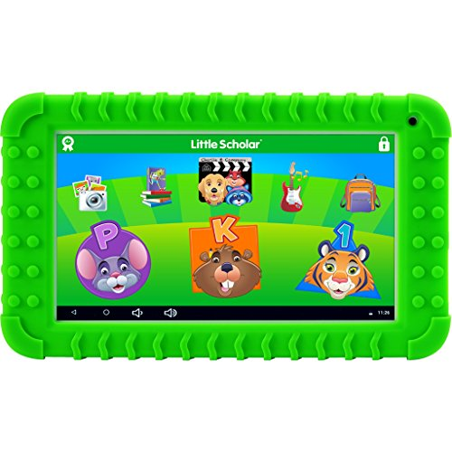 School Zone Little Scholar Best Kids 7'' Tablet, Ages 3-7, PreK-1st Grade, +Bumper, Android, Quad-Core, 16 GB, Wi-Fi, Front & Rear Camera, Green (08611) by School Zone