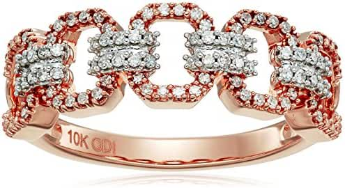 10k Rose Gold Diamond Open Link Ring (1/4cttw, I-J Color, I2-I3 Clarity), Size 8