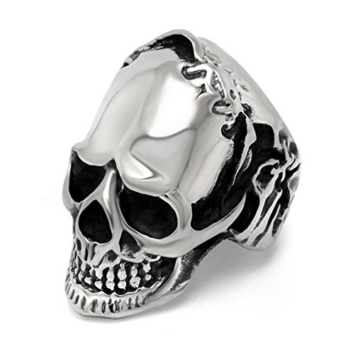 PSRINGS Ring Stainless Steel Rings Big Darn Skull Ring Solid Gothic Punk Biker Motorbike Rider Ring 10.0
