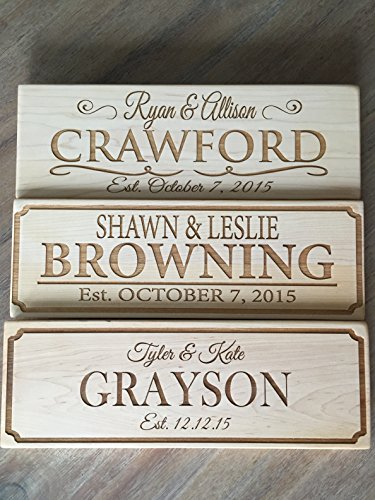 Qualtry Personalized by Family Name Custom Wood Signs 5x15 - Personalized Wedding Gifts Wooden Sign (Maple Wood, Crawford Design)