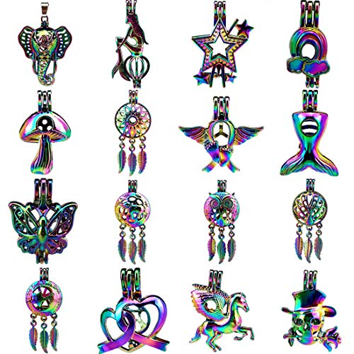 16X/lot Dream Catcher Halloween Skull Rose Moon Star Elephant Horse Wing Butterfly Mermaid Tail Angel Beads Cage Pendant Rainbow Multicolor Colors Locket Mix -