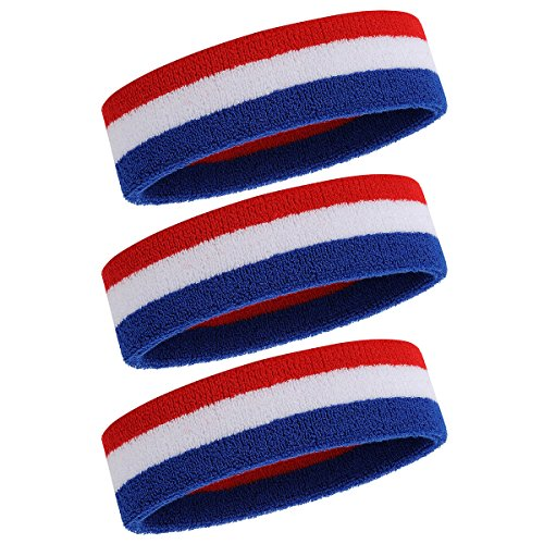 OnUpgo Sweatband Headband/Wristband for Men & Women - 3PCS/6PCS/12PCS Sports Headbands Moisture Wicking Athletic Cotton Terry Cloth Wristbands Head Band (3 Headbands - Blue/White/Red) -