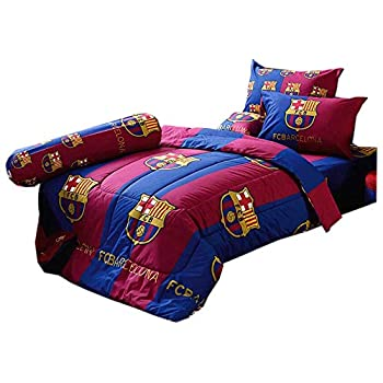 Image of Barcelona Fc Football Club Official Licensed Bedding Set, Bed Sheet, Pillow Case, Bolster Case, Comforter, Bc02 (Set B+1) Queen Size (La Liga Soccer) Home and Kitchen