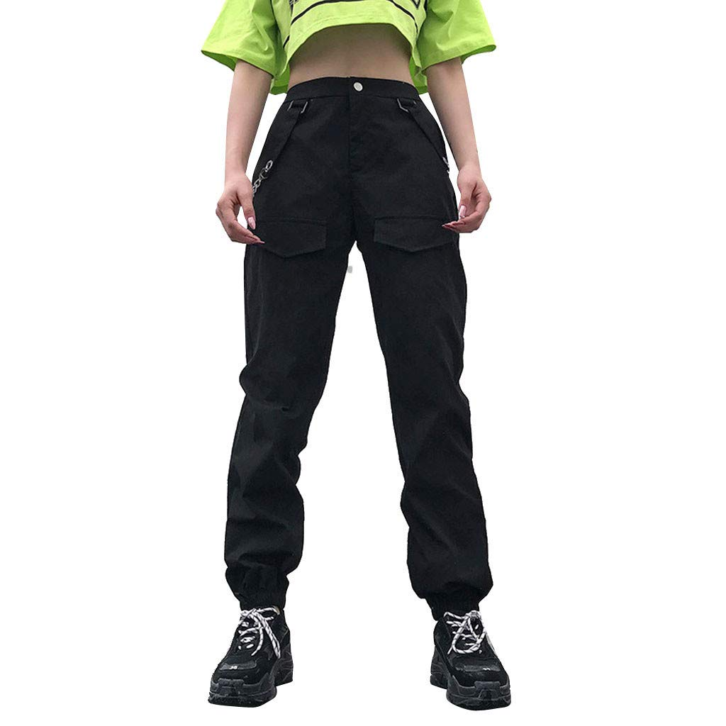 Women Straight-fit Cargo Pant Hip-Hop Harem Gothic Style Pockets Chain Paneled Elastic Waist Casual Stitching Loose Combat Trousers Girls
