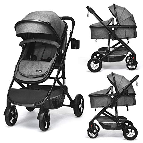INFANS Baby Stroller for Newborn, 2 in 1 High Landscape Convertible Reversible Bassinet Pram for Infant & Toddler, Foldable Aluminum Alloy Pushchair with Adjustable Backrest, 3D Suspension (Grey)