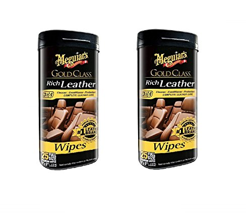 Meguiars Leather Conditioner - Meguiar's G10900 Gold Class Rich Leather Cleaner & Conditioner Wipes, 2 Pack