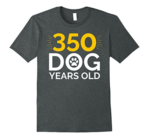 Mens 50th Birthday Gift Shirt, Funny 350 Dog Years Old T-Shirt XL Dark Heather