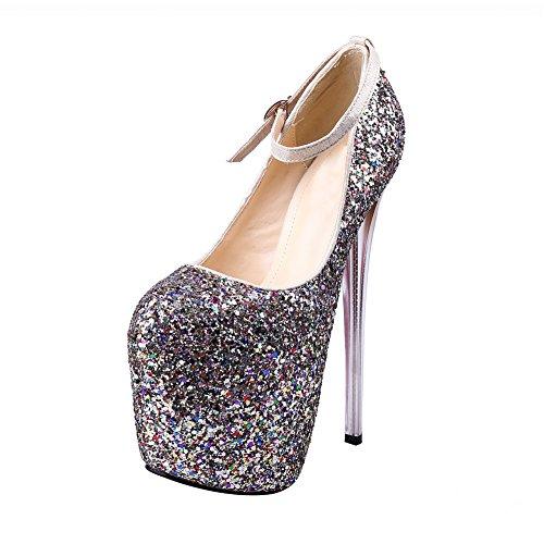 Women's Glitter Platform Pump Super High Metal Stiletto Dress Wedding Shoes 95 Golden 36iuvAC