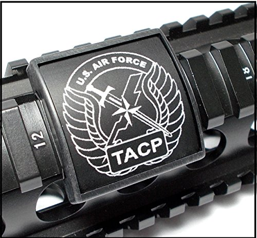 Ultimate Arms Gear U.S. Air Force TACP Tactical Air Control Party Logo Symbol Crest Black & White Laser Engraved Aluminum Custom Protect Rail, Small, USA MADE