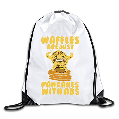 Bld Bag - ertr WAFFLES ARE JUST PANCAKES WITH ABS White Drawstring Backpack Sport Bag For Men & Women