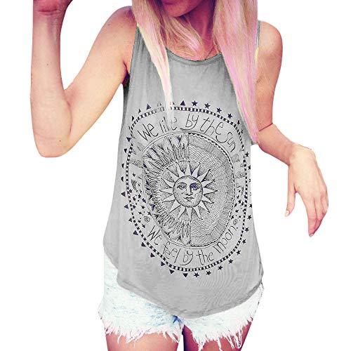 (Aniywn Women Loose Sleeveless Vest Sun Printed Casual Round Neck Tunic Tank Tops Grey)