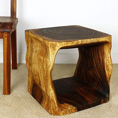(Monkey Pod Wood End Table with Swirling Textures - Hand Carved End Table -)