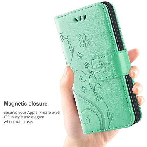 iPhone 5 Hülle,Solide Butterfly PU Ledercase Tasche Hülle Schutzhülle Flip Case Magnetverschluss Handyhülle im Wallet Bookstyle Standfunktion für Apple iPhone 5 5S SE - lila Minze