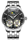 BINGER Men's Skeleton Automatic Mechanical Wrist Watch with Stainless Steel Band (Black)