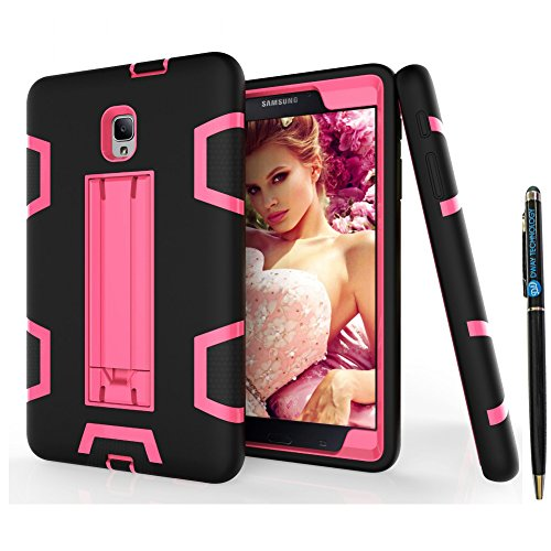 (Tab A 8.0 2017 T380 Case DWaybox Shock-Absorption 3 in 1 Combo Hybrid Heavy Duty Armor Hard Back Case Cover for Samsung Galaxy Tab A 8.0 2017 SM-T380/T385/Tab A2 S 2017 (Black + Hot Pink))
