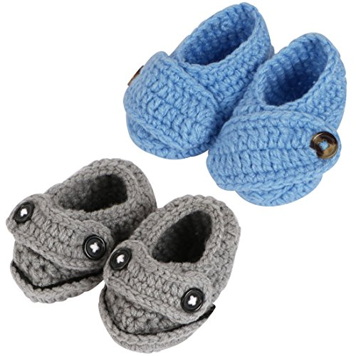 kilofly Socks Baby Boy Newborn Infant Hand Crochet Shoes Booties, Set of 2 - Preemie Booties