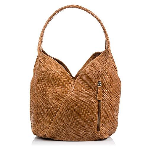 FIRENZE ARTEGIANI.Sac shopping bag pour femme en cuir véritable. Sac en cuir véritable gravé avec motif géométrique tressé et laqué. MADE IN ITALY. VERA PELLE ITALIENNE. 33x33x18 cm. Couleur: MARRON Marron