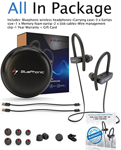 Bluephonic Bluetooth Wireless Headphones HD Stereo Beats Sound IPX7 Sweat  Water Proof Fit in Ear Workout Sport Earbuds Noise Cancelling Running