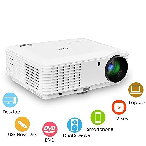 WXGA LCD Image 3500 Lumen Projector 1080p Home Theater System LED Video Proyector Dual HDMI Dual USB VGA AV Audio Out Multimedia Outdoor Movie Projectors for TV DVD Blu ray Player Phones PS4 iPad Wii (Full 22' Lcd Hd)