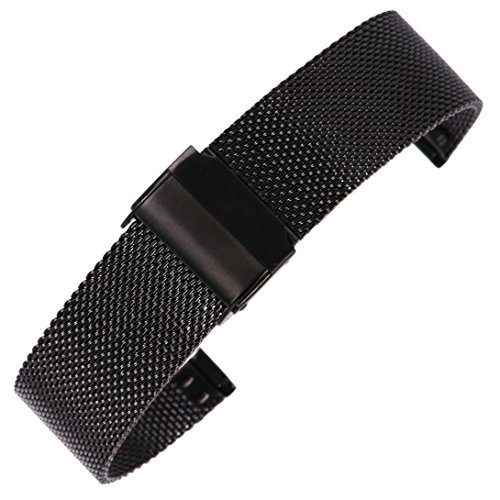 20mm Stainless Steel Mesh Watch Band Black Chainmail Mesh Strap Replacement for Business Sport Watches by autulet