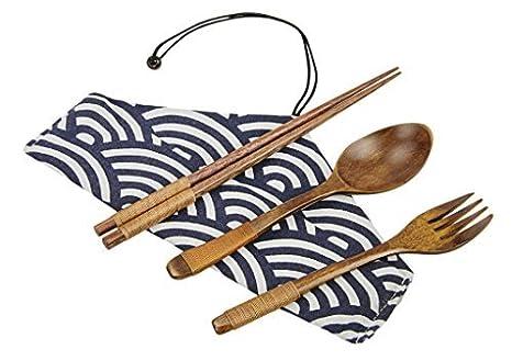 Natural de madera vajilla Set (tenedor, cuchara, palillos) portátil – Cubertería con