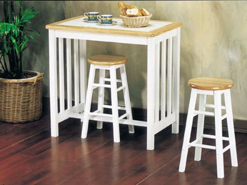 3pc Pack Tile Top Breakfast Table Set #AC 012140 (Tile Top Dining Set)