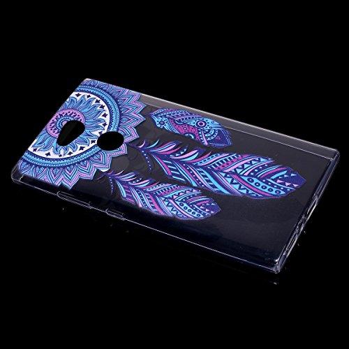 Funda Sony Xperia L2, EUWLY Sony Xperia L2 Carcasa Transparente Silicona TPU Bumper Case Shock-Absorción Anti-Arañazos Anti-Choques Back Cover Protectora Funda Ultra Slim Crystal Claro Carcasa para So Campanula Pluma