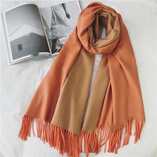 Sheepskin Châle Écharpe double - utilisation à long automne et d'hiver Double femmes s '- Sided Makalong Cashmere Châle Écharpe ( couleur : Orange )