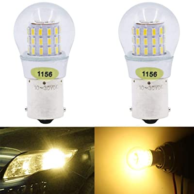 AMAZENAR 2-Pack 1156 BA15S 1141 1003 7506 1073 Extremely Bright Warm White LED Light 9-30V-DC, AK-3014 39 SMD Replacement Bulbs For Interior RV Camper Brake Tail BackUp Reverse Bulbs Turn Signal Light: Automotive